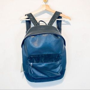 James Campbell Black Leather Suede Backpack NWT